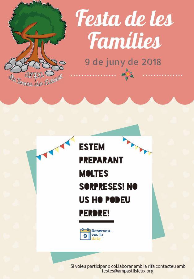 Cartell save to date Festa de les Famílies 2018